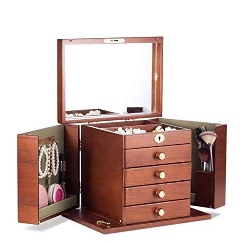 ZXL Organisateur de cosmétiques Boîte à Bijoux en Bois Boîte de Rangement pour cosmétiques Miroir de Salle de Bains Chambre à Coucher rétro Coiffeuse Collection boîte Cadeau (Couleur: Bois, Tail