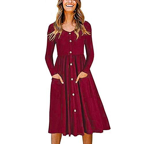 Promworld Kurz Vintage Rückenfreies Kleider Slim,Einreihiges Knopfkleid mit V-Ausschnitt - Rotwein_S,Sommerkleider Strandkleider