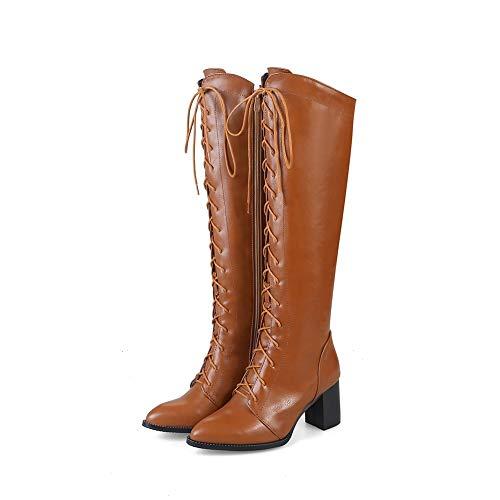 Damskie buty do kolan, wysokie buty z przednim paskiem, damskie szpiczaste buty na grubym obcasie do kolan, damskie jesienne i zimowe buty skórzane (Color : Brown thick velvet, Size : 45 EU)