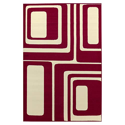 Debonsol - Tapis Salon Moderne Retro carrés Rouge crème 120x170cm