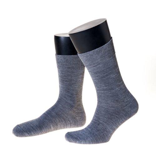 NORDPOL-Strümpfe Herren-Socken mit Wolle Ohne Gummib& Made in Germany (45-47, grau)