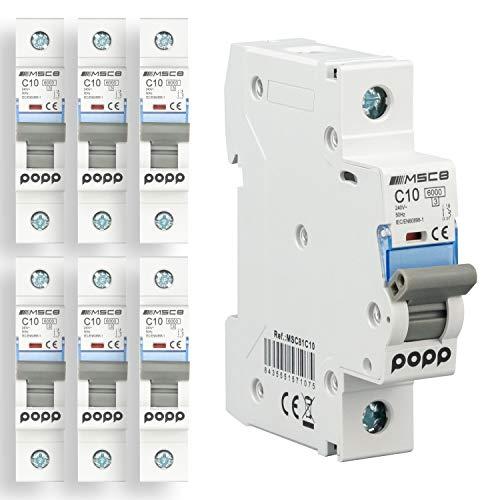 POPP Interruptor Automático Magnetotérmico 1P serie MSC8 gama Industrial CURVA C corte 6000A 6A,10A,16A,20A,25A,32A,40A,63A Pack 6,12 (10A, Pack 6)