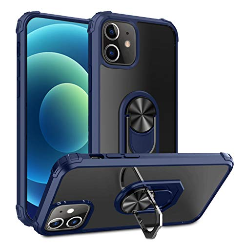 Clear Case for iPhone 12 Pro Max with Ring Kickstand Military Grade Shock Absorption Magnetic Cover Compatible with iPhone 12 Pro Max 6.7 inch(iPhone 12 Pro Max,Blue)
