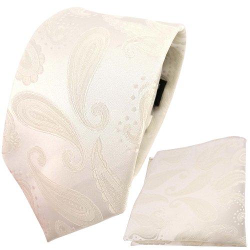 TigerTie schöne Designer Krawatte + Einstecktuch creme beige cremeweiß Paisley