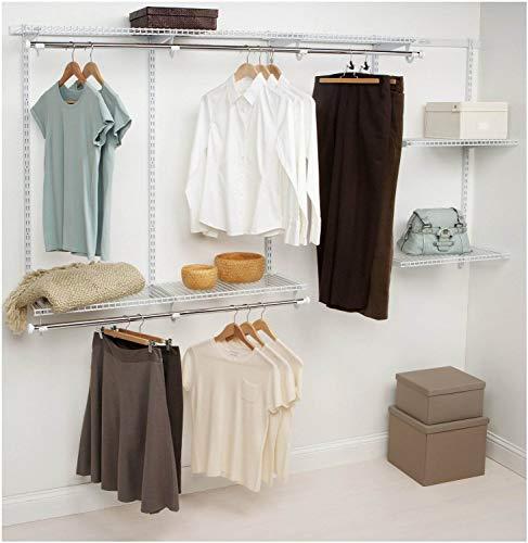 Rubbermaid Configurations 4-8 Feet Expandable Hanging and Shelf Space Custom DIY Closet Organizer Kit White