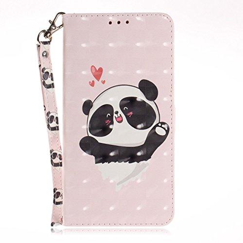 vingarshern Hülle für HTC One M9+ / One M9 Plus Schutzhülle Etui Tasche Klappbares Magnetverschluss Flip Hülle Lederhülle Handytasche HTC One M9+ / M9 Plus Hülle Leder Brieftasche(Panda-2) MEHRWEG