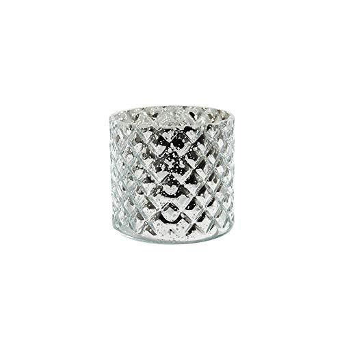 Sandra Rich Zylinderglas, Windlicht, Kerzenglas, Vase, Glas Diamond Silber verspiegelt. 10 cm.