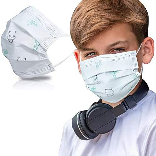 SYMTEX 50 Stück Kinder Mundschutzmasken Masken 3-lagig Mundschutz Gesichtsmaske Einwegmaske mund und nasenschutz (Panda)