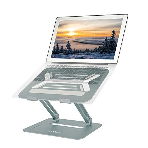 Urmust Adjustable Laptop Stand for Desk Aluminum Computer Stand for Laptop Riser Holder Notebook Stand Compatible with MacBook Air Pro Ultrabook All Laptops 11-17 inch (Bluish Gray)
