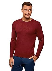 oodji Ultra Hombre Jersey Básico con Cuello Redondo, Rojo, ES 58-60 / XXL