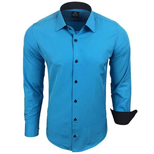 Rusty Neal Herren Hemd Stretch Business Kontrast Hemden Bügelleicht Slim 31 Farben S - 4XL, Größe:S, Farbe:Türkis