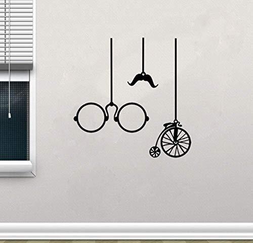 Muursticker Modieuze Vorm Vintage Bril en Fiets Rijden Muursticker Zitkamer De Slaapkamer Decor 55Cm*56.4Cm
