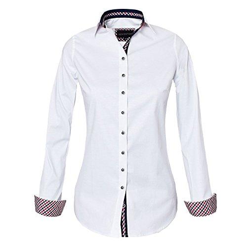 HEVENTON Hemdbluse Bluse Damen Langarm in Weiß Größe 34 bis 50 - elegant und hochwertig Farbe Weiß, Größe 42