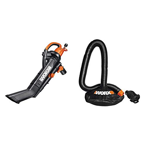 """WORX WG505 3-in-1 Blower/Mulcher/Vacuum, 9"""" x 15"""" x 20"""", Orange and Black & WA4054.2 LeafPro Universal Leaf Collection System for All Major Blower/Vac Brands"""