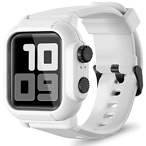 Waterproof Case for Apple Watch Series 6 / 5 / 4 / 3 / 2 / 1 / SE 40mm 42mm 44mm, Rugged Shockproof iWatch Protective Cover Case with Premium Soft Silicone Band (White, 44mm)