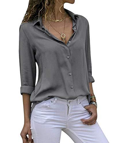 Cassiecy Damen Bluse Chiffon Elegant V-Ausschnitt Langarm Casual Oberteile Hemd Lose Langarmshirt Tops(Grau,L)