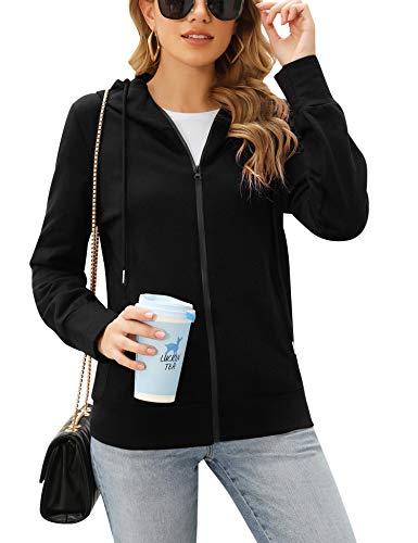 Irevial Damen Sweatjacke mit Kapuze Zip Hoodie Kapuzenjacke Basic Einfarbig Schwarz Large