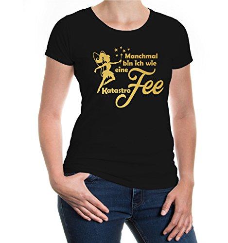 buXsbaum® Damen Kurzarm Girlie T-Shirt Bedruckt Manchmal Bin ich wie eine Katastrofee | Spruch Mädchen Fee | XS Black-Gold Schwarz