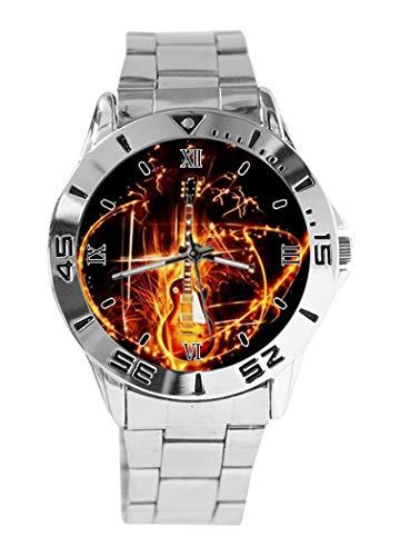 Gibson Les Paul Gitarre Design Analog Armbanduhr Quarz Silber Zifferblatt Classic Edelstahl Band Damen Herren Armbanduhr
