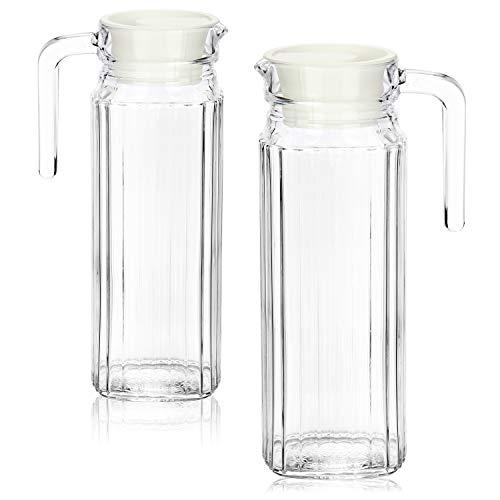 COM-FOUR® 2x Carafe en verre avec couvercle - Carafe à eau avec poignée - Carafe en verre de 1,1 litre pour l'eau, le lait, les jus et la limonade