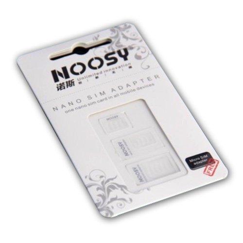 Adattatori Noosy da NANO SIM a SIM Card Standard Classica 3 in 1 Nano Sim + Micro Sim + Sim Standard per tutti i smartphone cellurali