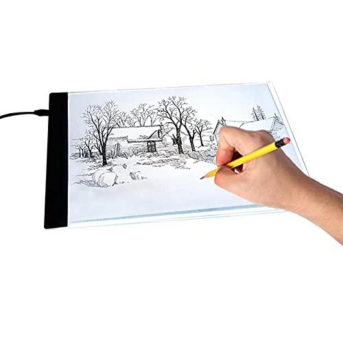 Akozon Tablero de la luz del Tablero de Dibujo, Regalo Los Reyes Magos, A4 LED Caja de luz Artista Dibujo Almohadilla, copiar Almohadilla, Almohadilla de Seguimiento(EU)