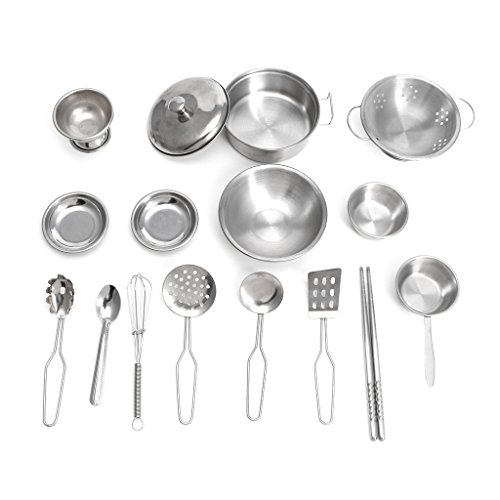 Redriver 16pcs Stainless Steel Kitchen Cooking Utensils Mini Kitchen Tools Play House Toy