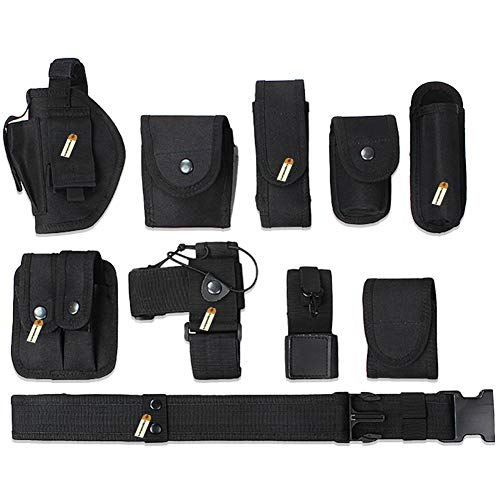 Lsgoodcare Multifunction Police Security Guard Military Tactical Duty Utility Waist Belt, Black 10 in 1 600D Nylon Adjustable Modular Equipment Law Enforcement Outdoor Duty Belts