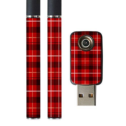 igsticker プルームテック Ploom TECH 専用スキンシール バッテリー スティック USB充電器 カバー ケース 保護 フィルム ステッカー スマコレ 012385 チェック 赤 白