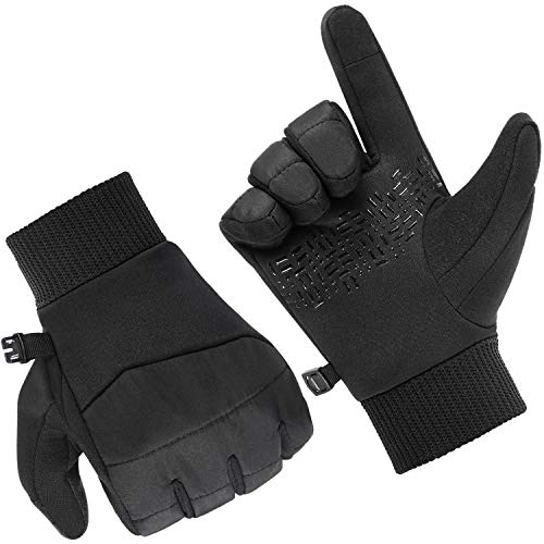 Andake Touchscreen Handschuhe, Warm Nylon Silikon Fahrradhandschuhe Herren Winter Handschuhe rutschfest Winddicht Outdoor Sporthandschuhe für Fitness Camping Wandern Reiten (Mit Silikon, S)