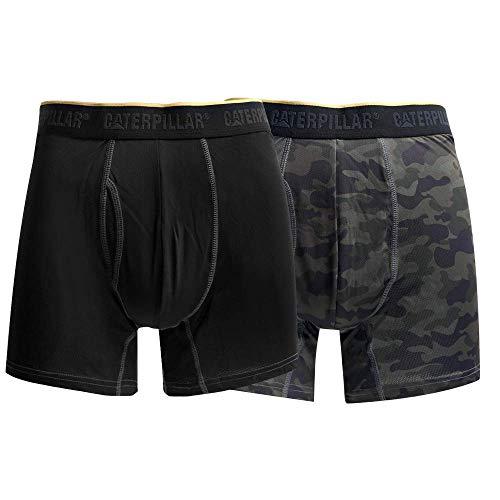 Caterpillar Men's 2-Pack Sport Mesh Boxer Brief, Black/Green Camo, XX-Large
