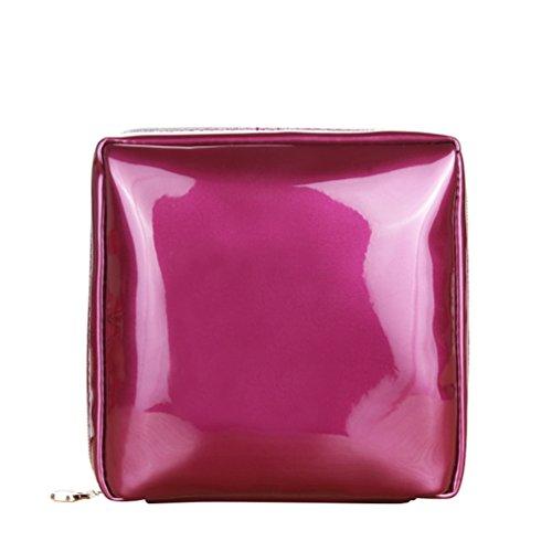 Yuanu Color Sólido Cuadrada Forma Neceser, Conveniente Durable Bolso De Maquillaje Para...