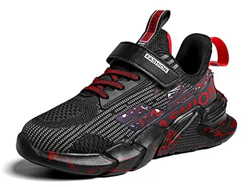 SMajong Scarpe da Ginnastica per Bambini Scarpe da Atletica Leggera per Bambini Mesh Traspirante Scarpe da Corsa Moda Casual Sneakers Ragazzi Ragazze (Nero e Rosso 38EU)