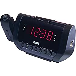 NAXA Electronics NRC-167 Wall-Projection Dual Alarm Clock with Built-in USB Device Charger (Black)