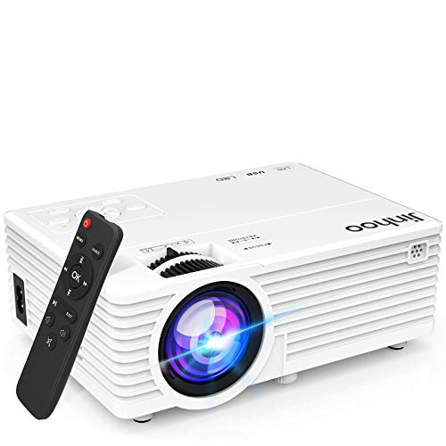 "2021 Upgrade Projector, Mini Video Projector with 6000 Brightness, 1080P Supported, Portable Outdoor Movie Projector, 176"" Display Compatible with TV Stick, HDMI, USB, VGA, AV for Home Entertainment"