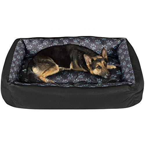 SuperKissen24 Hundebett Hundekorb Hundesofa Tierbett für Kleine, Mittlere und Grosse Hunde - Waschbar - Größe XL - Schwarz und Grau Pfoten aus Flachs