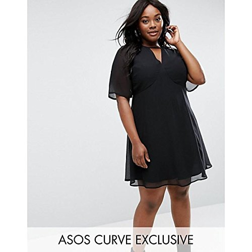 エイソス トップス ワンピース ASOS CURVE Soft Tea Dress with Choker Ne Black