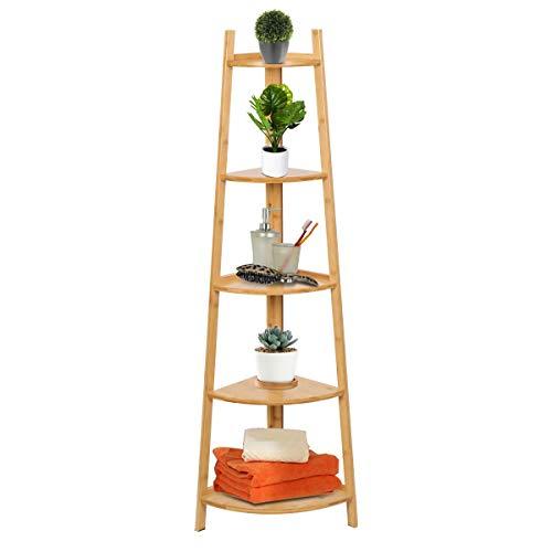 Magshion 5 Tier Bamboo Corner Storage Display Rack Shelves Kitchen Bath Plant Stand Natural