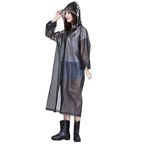 Mantella da pioggia da donna, impermeabile, in EVA ecologico, con cappuccio e maniche, lunghezza sopra al ginocchio, spessa, per adulto, Gris- XL