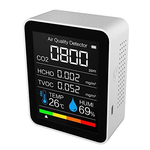 CO2 Messgerät KKmoon CO2-Detektor VOC Formaldehyd Detektor HCHO-Detektor Luftqualität Detektor Temperatur- und Feuchtigkeitssensortester Kohlendioxidmonitor Intelligenter Luftdetektor