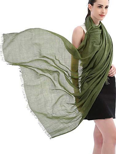 Longwu Scialli avvolgenti per sciarpa in cotone e lino tinta unita per donna Signore (100 cm x 190 cm) Super Large-Per tutti i regali di Natale