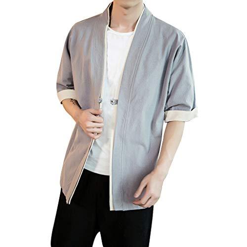 Zolimx Tshirt Uomo Manica Corta Vovotrade hirt da Uomo in Lino Camicia a Maniche Corte Tinta Unita Camicetta delle Magliette retrò Colore Solido