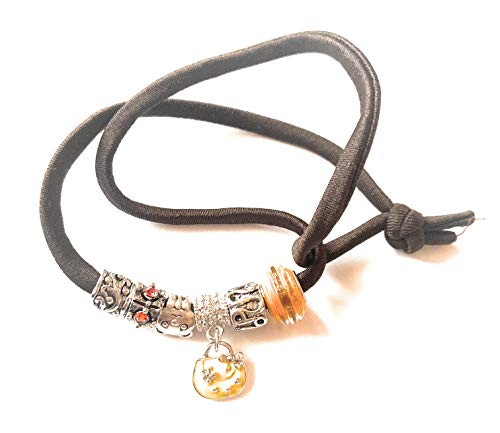 brown lycra necklace bracelet with steel charm