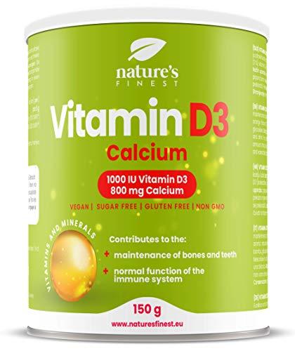 Nature's Finest Vitamina D3 + Calcio | 1000 UI (500% NRV) di vitamina D3 per dose | 800 mg (100% NRV *) di dosaggio di calcio | Per un sistema immunitario, ossa e denti forti