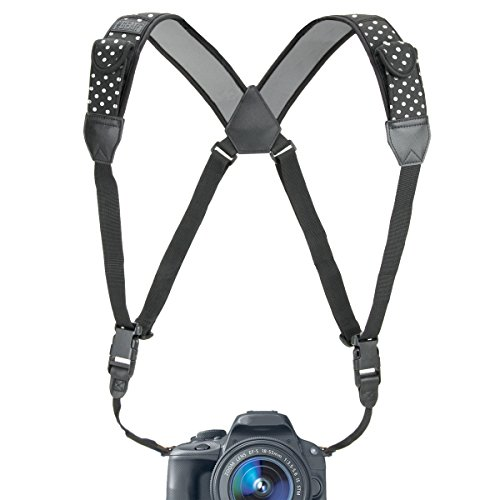 USA GEAR DSLR Camera Strap Chest Harness with Quick Release Buckles, Polka Dot Neoprene Pattern and Accessory Pockets - Compatible w/Canon, Nikon, Sony and More Point and Shoot and Mirrorless Cameras
