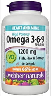 Webber Naturals Omega 3-6-9 Flaxseed, Fish & Borage Oils 1200 mg, 150 softgels Bonus Size