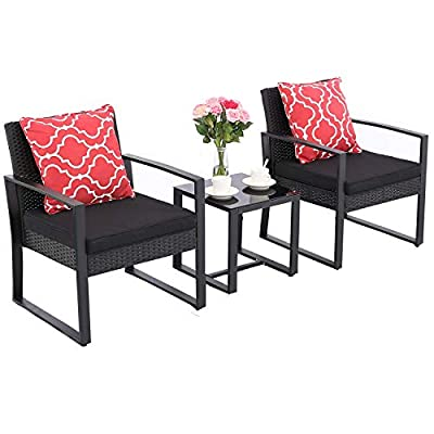 HTTH 3 Pieces Patio Chair Sets Outdoor Wicker Patio Furniture Sets Modern Bistro Set Rattan Chair Conversation Sets -Two Chairs with Glass Coffee Table