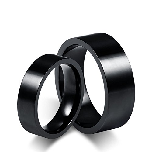 Aimsie Couple Rings Engagement Ring for Men and Women Stainless Engagement Couple Size Engraving Free Black