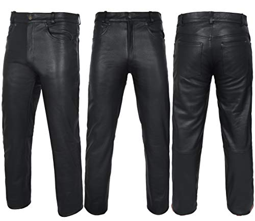DALLX Black Leather Motorbike Pants for Men's Motorcycle Bikers Cow Skin Full Grain Heavy Duty Leather Pant (WASIT/36)