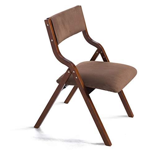 Furniture Stol/klapstoel van hout met rugleuning, kan worden gebruikt voor de eetkamer, leerstoel voor kinderen, make-up, voor thuis en op het werk, bruin